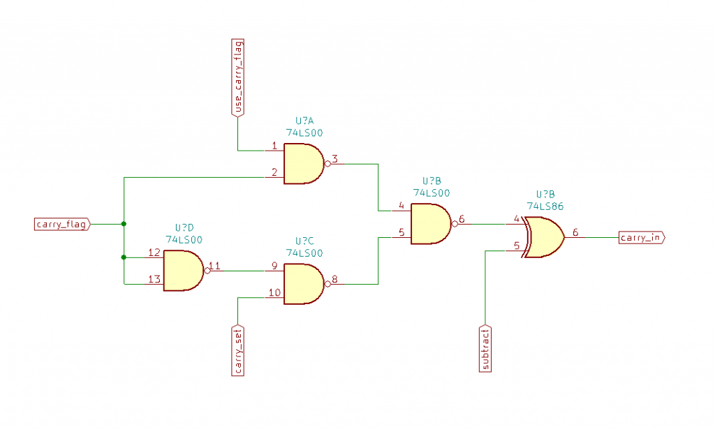 The carry input selector. In the final schematics the XOR gate (invert if subtract) is actually shown in the adder circuit