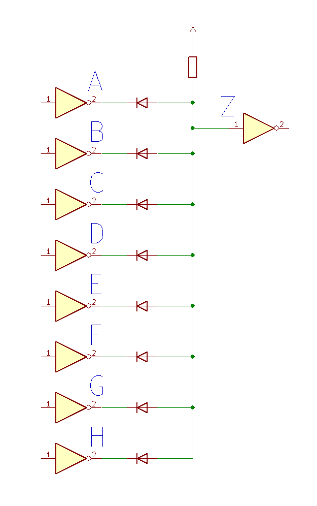 8 input diode logic AND gate