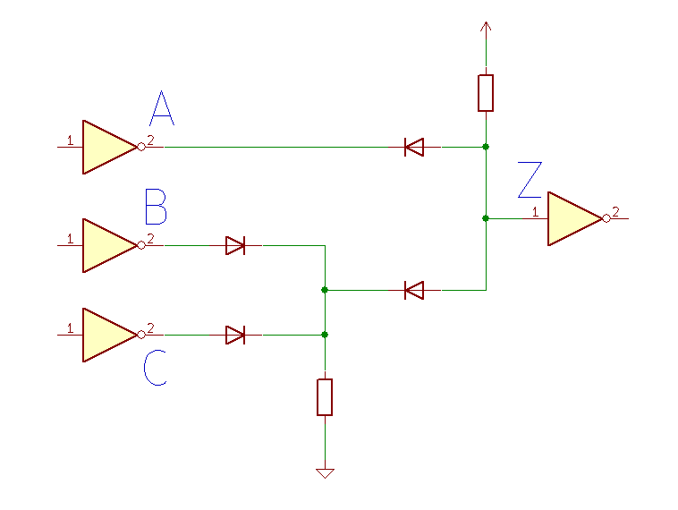 Diode logic A and (B or C)