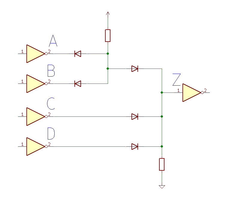 Diode logic (A and B) or C or D