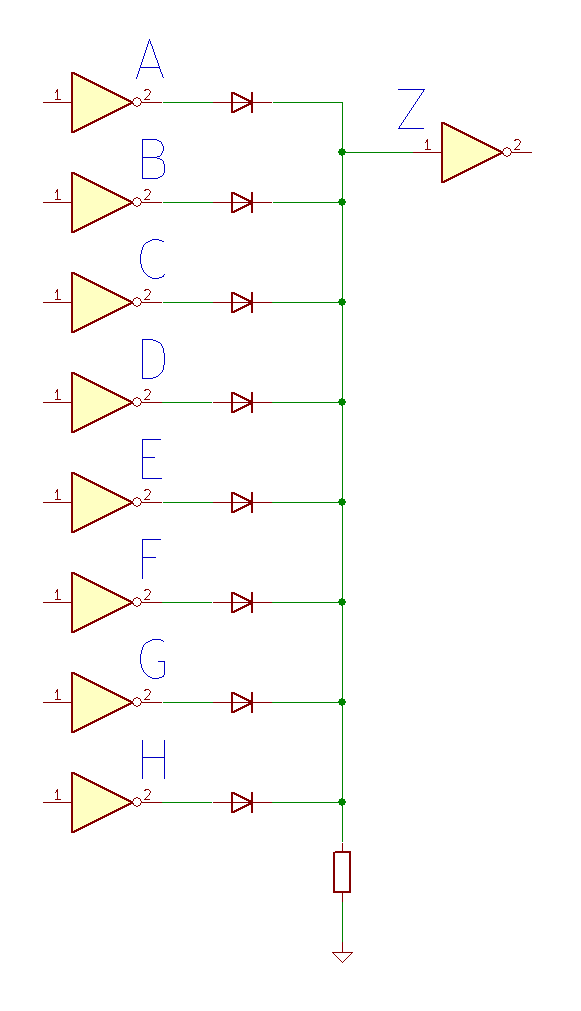 8 input diode logic OR gate