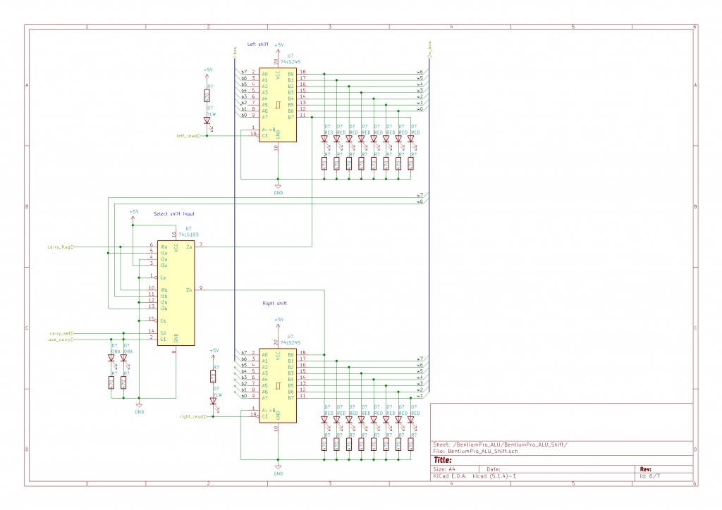 Full schematic for the Bentium Pro's ALU's shift/rotate circuit