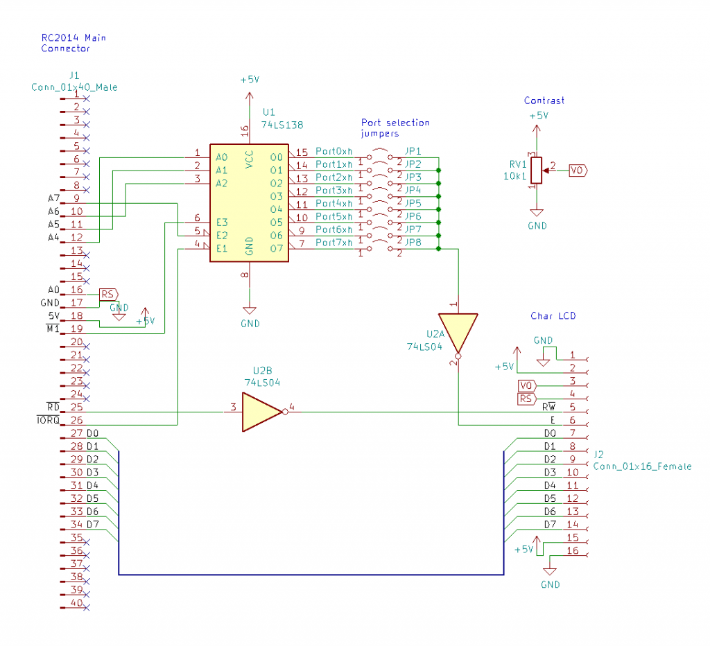 Fig 2. Schematic for connecting a generic character LCD to a Z80.