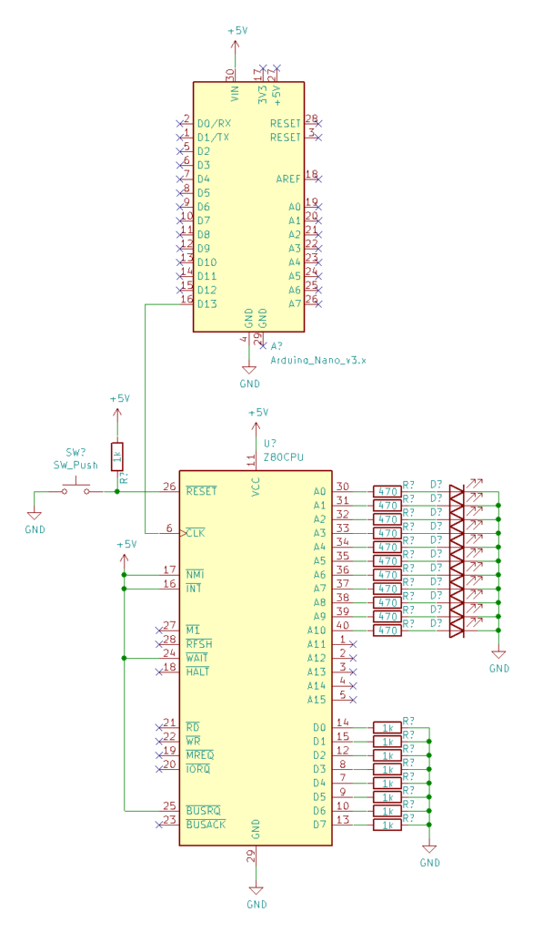 Schematic for the breadboard Z80