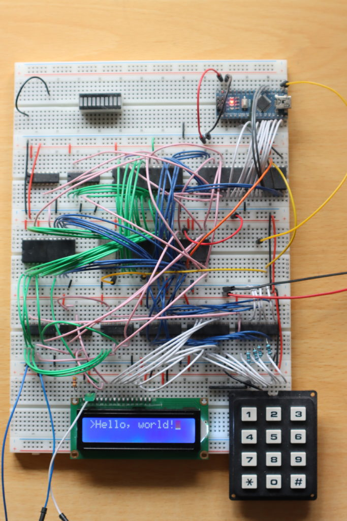 My breadboard Z80 computer with LCD display attached and working.