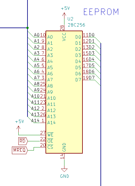 Our current EEPROM schematic - note the /CS pin connection to /MREQ.